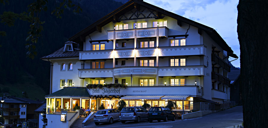 Hotel Jägerhof, Ischgl, Austria - exterior at dusk.jpg